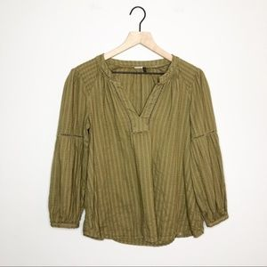 Anthro | Akemi + Kin Olive Green Peasant Blouse